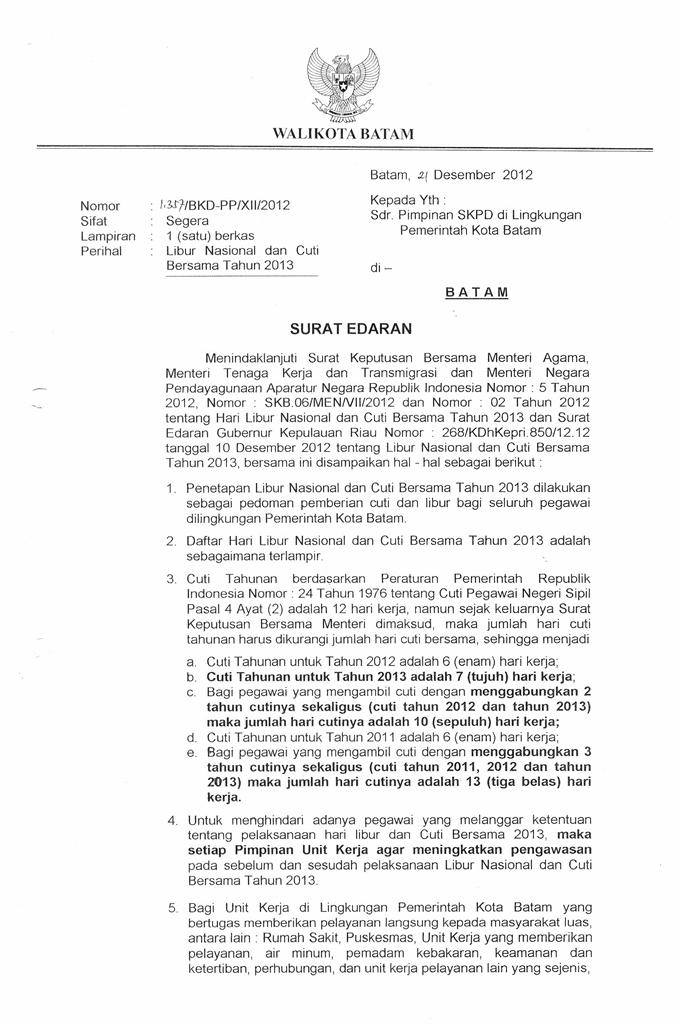 Libur Nasional Badan Kepegawaian Dan Diklat Kota Batam