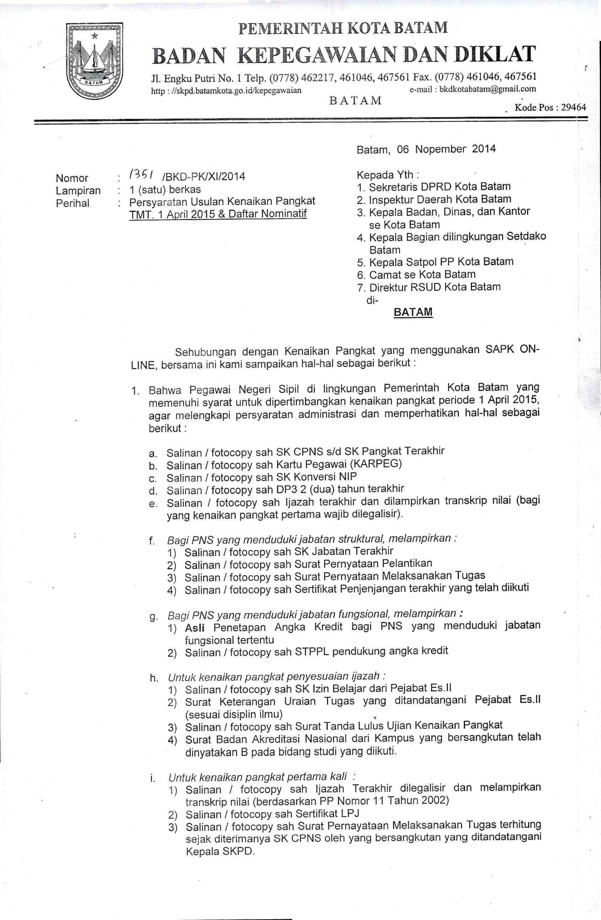 Surat Edaran Badan Kepegawaian Dan Diklat Kota Batam